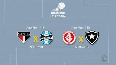 Inter e Grêmio entram em campo pelo Brasileirão neste sábado (31) - Grêmio enfrenta o São Paulo e Inter encara o Botafogo.