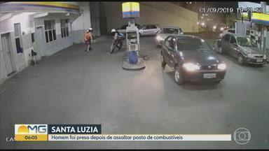 Polícia prendeu suspeito de assalto a posto de combustíveis em Santa Luzia - Suspeito foi baleado enquanto tentava fugir