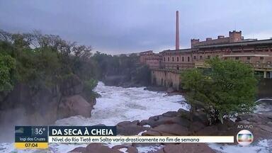 Chuva em Sorocaba muda a paisagem do Rio Tietê, em Salto - Veja como fica o tempo essa semana.