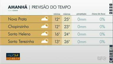 Tempo segue aberto nas cidades do oeste e sudoeste - A máxima será de 26 graus em Santa Terezinha de Itaipu.