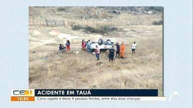 Carro capota em Tauá e deixa 4 pessoas feridas, entre elas duas crianças - Confira mais notícias em g1.globo.com/ce