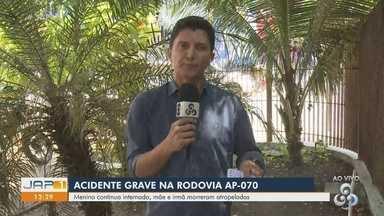 Mãe e filha morrem após serem atingidas por picape na Rodovia AP-070, em Macapá - Acidente aconteceu no distrito de Abacate da Pedreira. Vítimas estavam de bicicleta.
