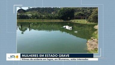 Vítimas de acidente em lagoa, em Blumenau, estão internadas - Vítimas de acidente em lagoa, em Blumenau, estão internadas