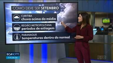 Terça-feira terá tempo nublado e com chuva - Temperaturas continuam baixas entre Curitiba e litoral.