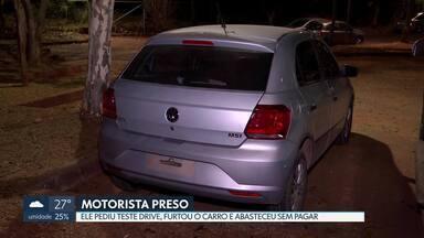 Homem é preso depois de furtar carro em teste drive - Ele trocou as placas e andava com o carro. O homem ainda abasteceu o carro furtado e saiu sem pagar.
