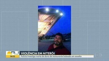 Comerciante é morto durante assalto em Niterói - Marcelo Alves foi baleado por bandidos durante um assalto, em Niterói. O corpo do comerciante será sepultado nesta quinta-feira (5).
