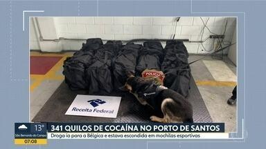 Polícia Federal e Receita Federal apreendem 341 quilos de cocaína no Porto de Santos - A droga estava esvondida em mochilas esportivas e seria enviada para a Bélgica.