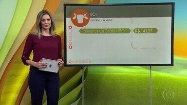 Confira a cotação do boi e os preços do café - Em Palmeiras de Goiás, a arroba saiu, na sexta-feira (6), por R$ 141,37, em Arapongas, Paraná, R$ 150,00 e em Itapetinga, Bahia, R$ 151,32. A Saca do Arábica em Poços de Caldas, Minas Gerais, foi negociada na sexta-feira por R$ 405,00, queda de 1,2%