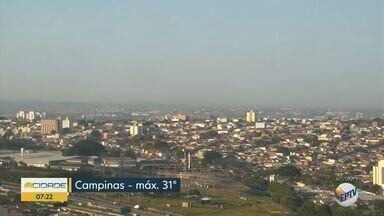 Confira a previsão para esta segunda-feira (9) - Semana começa com temperaturas altas na região; Campinas tem máxima de 31°C.