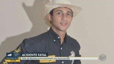 Peão de Barretos morre após ser pisoteado por touro em Pirajuba, MG - Acidente aconteceu quando Higor Vinícius Gregório Villar, de 26 anos, participava de rodeio durante a 34ª Festa do Peão do município.