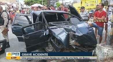 Mulher morre e três ficam feridos após acidente em Bayeux - Carro bateu em semáforo localizado no cruzamento entre as ruas Gustavo Maciel Monteiro e Engenheiro de Carvalho.