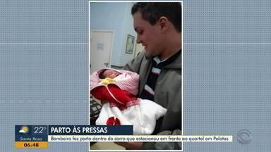 Bombeiro faz parto dentro de carro de aplicativo em Pelotas - Motorista pediu ajuda no quartel.