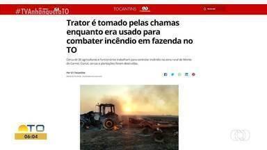 Trator fica em chamas enquanto é usado para combater fogo em fazenda - Trator fica em chamas enquanto é usado para combater fogo em fazenda