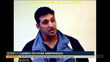 Ladrão diz em depoimento que está arrependido - Ladrão foi flagrado enquanto tentava furtar televisores.