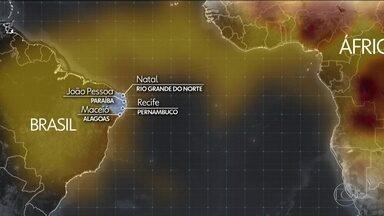 Natal, João Pessoa, Recife e Maceió enfrentam a fuligem vinda da África - Queimadas da cidade de Mangai, na República Democrática do Congo, lançam na atmosfera a fumaça que viaja seis mil quilômetros sobre o Atlântico até o litoral nordestino.