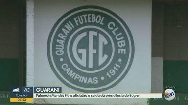 Palmeron Mendes Filho oficializa a saída da presidência do Guarani - O ex-dirigente alegou questões de saúde e disse que fará um tratamento de pelo menos 8 meses.