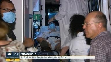 Pacientes resgatados de incêndio são levados para hospitais do Rio - Funcionários e bombeiros trabalharam no resgate de pacientes. Todos foram removidos e levados para hospitais do Rio.