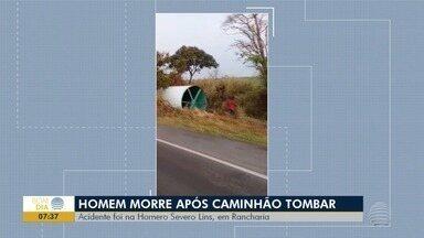 Tombamento de caminhão causa morte de homem, em Rancharia - Acidente foi na Rodovia Homero Severo Lins.