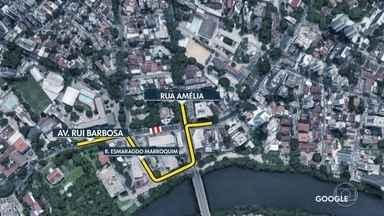 Veja como são feitos os desvios devido à interdição da Avenida Rui Barbosa - Obra da Emlurb interdita totalmente trecho na altura do Museu do Estado a partir das 20h.