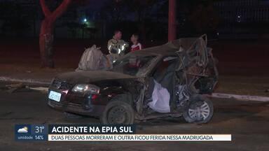 Duas pessoas morreram em um acidente na Epia Sul - O acidente foi entre dois carros na madrugada de sexta-feira (13). As pistas tiveram que ser interditadas.
