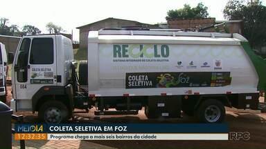 Programa de coleta seletiva chega a mais seis bairros de Foz do Iguaçu - Quase 70% da população está sendo atendida pelo programa.