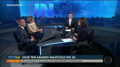 Sandro Dalpícolo no JN: ele assume a bancada na noite deste sábado - Sandro vai dividir a bancada com Luana Borba, do Amazonas.