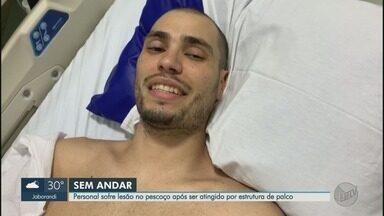 Queda de estrutura de palco deixa homem ferido durante festa em Guaíra, SP - Personal trainer, de 31 anos, sofreu lesão na coluna.