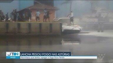 Marinheiro tem queimaduras de 2º grau ao apagar incêndio em lancha em Guarujá - Funcionários de marina no bairro Jardim Astúrias conseguiram controlar as chamas, segundo o Corpo de Bombeiros.