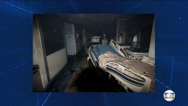 Imagens exclusivas mostram como ficou hospital no Rio atingido por incêndio - A polícia confirma que as chamas começaram no gerador, mas os peritos ainda querem saber o que provocou o fogo. Onze pessoas morreram.