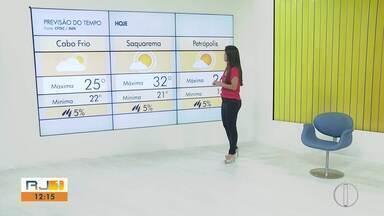 Confira a previsão do tempo para o interior do Rio - Veja as temperaturas para a segunda-feira (16).