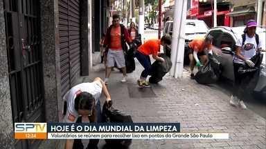 Voluntários se reúnem para recolher lixo em pontos da Grande São Paulo - Este sábado (20) é o dia mundial da limpeza.