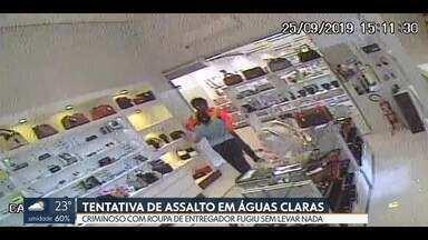 Entregador falso rouba loja em Águas Claras - O ladrão vestia roupa de entregador e rendeu funcionário na Rua 13 norte.