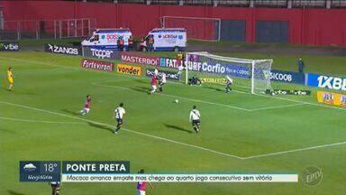 Macaca empata contra o Paraná e completa 4º jogo seguido sem vitórias - Com gol marcado no final da partida, equipe se mantém na 11ª colocação. Próximo jogo acontece no sábado (28) contra o Cuiabá, no Moisés Lucarelli.
