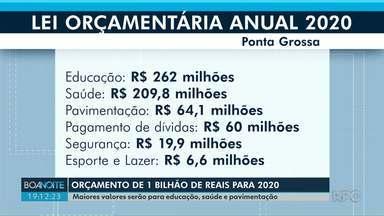 Prefeitura prevê orçamento de R$ 1 bilhão em 2020, em Ponta Grossa - Maiores valores serão para educação, saúde e pavimentação.