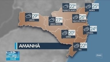 Veja como ficará o tempo em todas as regiões de SC nesta sexta-feira (27) - Veja como ficará o tempo em todas as regiões de SC nesta sexta-feira (27)