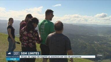 Deficientes visuais saltam de parapente pela primeira vez na Grande Florianópolis - Deficientes visuais saltam de parapente pela primeira vez na Grande Florianópolis