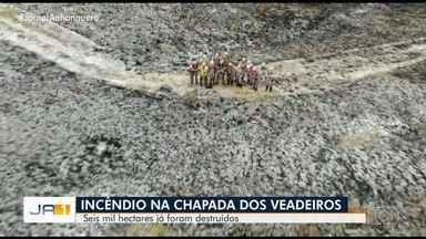 Incêndio atinge a Chapada dos Veadeiros, em Goiás. - Bombeiros e brigadistas participam da operação para apagar as chamas.