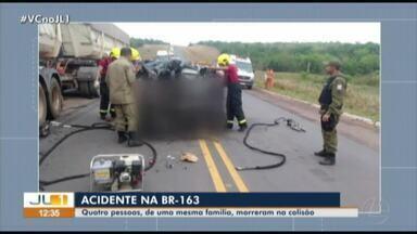 Quatro pessoas da mesma família morrem em acidade de carro na BR-163, no Pará - Carro colidiu de frente com uma carreta