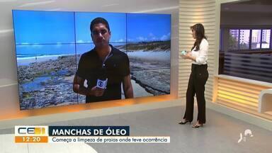 Praias de Fortaleza são limpas depois de mancha de óleo aparecer na areia - Saiba mais em g1.com.br/ce