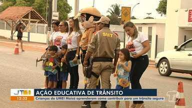 Crianças da Umei Maicá aprendem como contribuir para um trânsito seguro - Elas aprenderam conceitos sobre comportamentos seguros nas ruas.