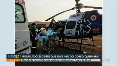 Morre adolescente que teve 40% do corpo queimado - O acidente foi em Colorado, após a explosão de um frasco de álcool.