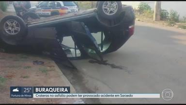 Buraco em Sarzedo pode ter provocado capotamento de carro - Motorista teve ferimentos leves.