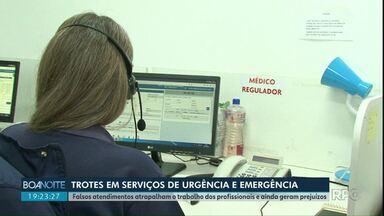 Trotes têm causado transtornos e prejuízos aos serviços de urgência e emergência - No Samu de Guarapuava são 30 por mês e no Corpo de Bombeiros são 80 por dia.