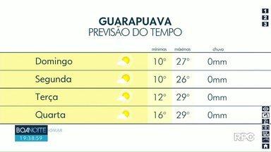 Domingo será de sol entre poucas nuvens na região de Guarapuava - Durante à tarde as temperaturas ficam perto dos 30°.