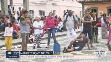 Indígenas Guaranis e quilombolas protestam contra demarcação no Vale do Ribeira - Grupos protestam em Iguape devido à demarcação de Terras Guaranis.