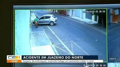 Motorista na contramão bate o carro em portão em Juazeiro do Norte - Saiba mais no g1.com.br/ce