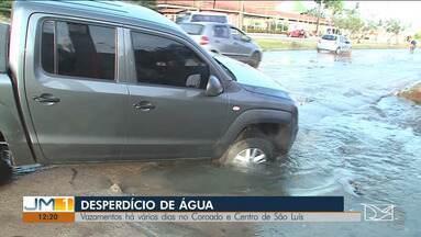 Vazamentos deixam moradores de dois barros de São Luís sem água - O desperdício de água já dura vários dias.