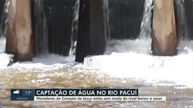 Moradores de Coração de Jesus têm receio de rio secar com captação de água pela Copasa - Captação de água é feita pela Copasa no Rio Pacuí desde 2018.