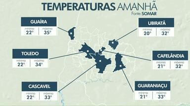 Terça-feira vai ser quente no oeste do estado - Em Cascavel a máxima pode chegar aos 33 graus.