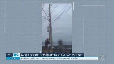 Motociclistas são flagrados vandalizando radar na Ponte dos Barreiros - Ação impediu que o equipamento registrasse a velocidade dos motoristas que trafegavam pelo local.